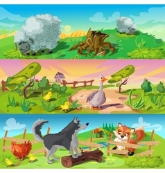 Farm Scenes Banners Set vector image vector image