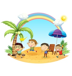 Four boys having an outing at the beach vector