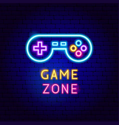 Game zone neon label vector