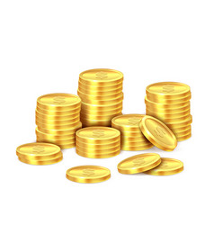 gold coins stack realistic golden dollar coin vector image