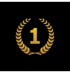Gold silhouette winner icon with number 1 vector