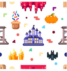 Halloween seamless pattern design with castle bat vector