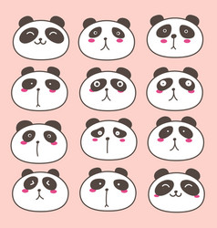 hand drawn cute panda characters set vector image