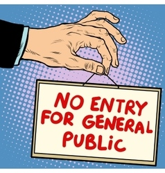 Hand sign no entry for general public vector