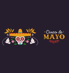 happy cinco de mayo banner mariachi skull vector image
