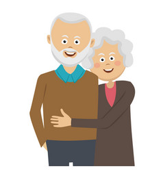 Happy elderly couple standing in an embrace vector