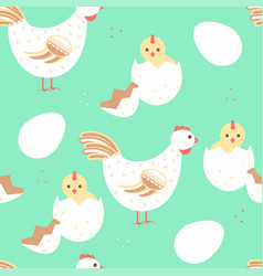 hen and baby chicken seamless pattern vector image