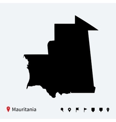 High detailed map of Mauritania with navigation vector image