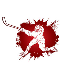Ice hockey player action cartoon sport graphic vector