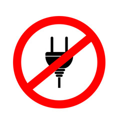 icon forbidden plug to electricity vector image
