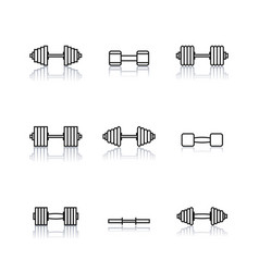 icons dumbbells of thin lines vector image