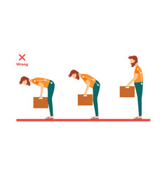 Incorrect spine man lifting weight vector
