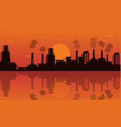 Industry with reflection background vector