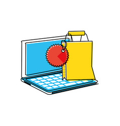 laptop computer with shopping bag vector image