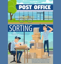 Mailman sorting mail in post office vector