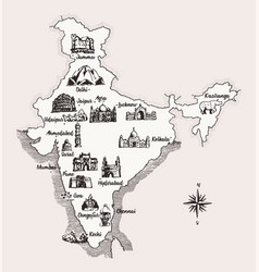 map india old school style vintage design vector image