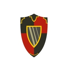 Metallic red and black shield icon flat style vector image