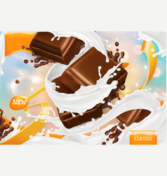 milk and chocolate white cream splash 3d vector image