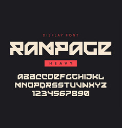 Modern heavy display font named rampage vector