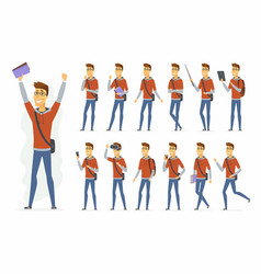 Modern student - cartoon people character vector