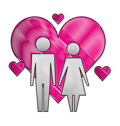 pictogram love couple characters hearts vector image