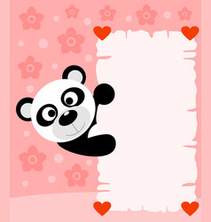 pink valentines day background card with panda vector image