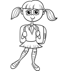 Primary school girl coloring book vector