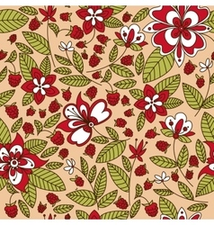 Raspberry fruits and flowers seamless pattern vector image