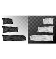 realistic different sizes black and white flags vector image