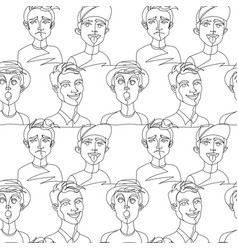 seamless pattern with man portrait one line art vector image