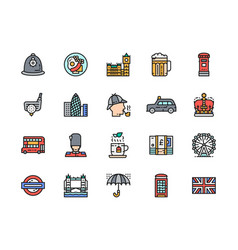 set english culture flat color line icons vector image