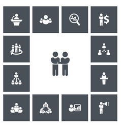 Set of 13 editable business icons includes vector