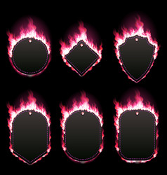set of six frames surrounded with red lame vector image