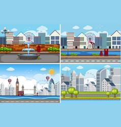 set urban scene vector image