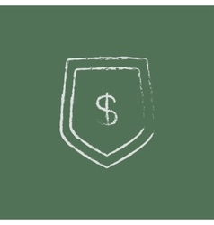 Shield with dollar symbol icon drawn in chalk vector