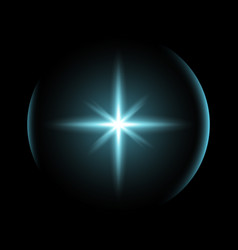 Shining star with a glare aqua color vector