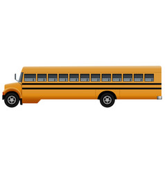 Side of long school bus mockup realistic style vector
