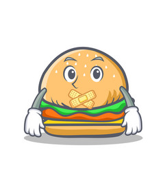 Silent burger character fast food vector