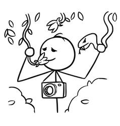 Stickman cartoon of tourist smelling the flower vector
