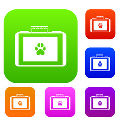 Suitcase for animals set collection vector