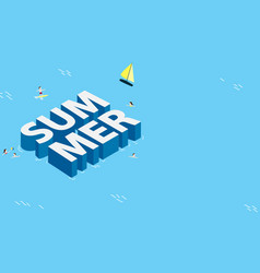 Summer banner design with isometric background vector