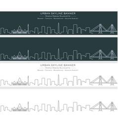 surabaya single line skyline banner vector image