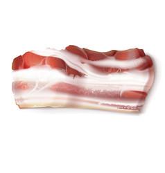 Thin bacon strip fatty slice of pork meat vector