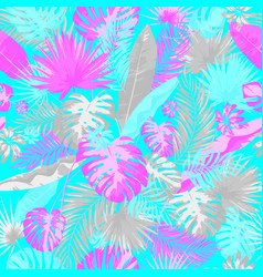 tropical summer print with exotic leaves vector image