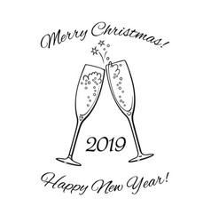 two glasses of champagne 2019 merry christmas and vector image