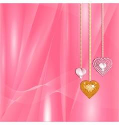 Valentine gold and diamond hearts vector