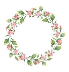 Watercolor wreath of green branches and vector