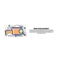 web development concept horizontal banner with vector image