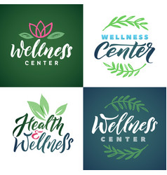 wellness center logo set green leaves vector image