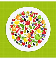 White Plate With Fruit And Vegetables vector image